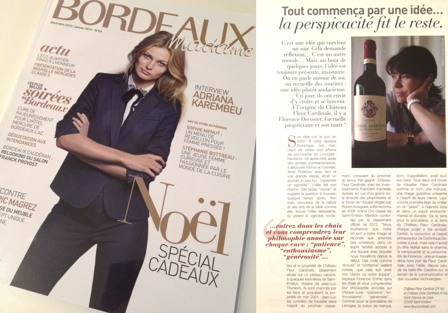 florence decoster in french magazine bordeaux madame | château